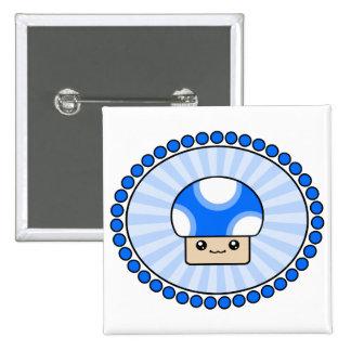 Mushy Puffs Kawaii Mushroom Blue 15 Cm Square Badge