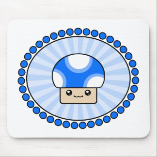 Mushy Puffs Kawaii Mushroom Blue Mousepad