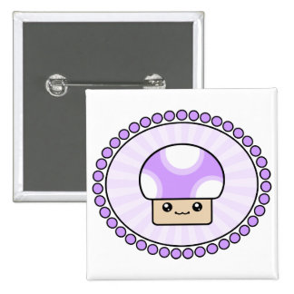 Mushy Puffs Kawaii Mushroom Purple 15 Cm Square Badge