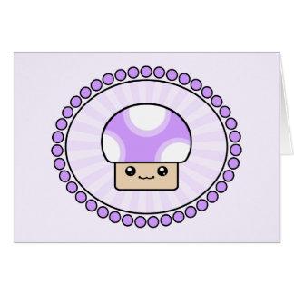 Mushy Puffs Purple Kawaii Mushroom Birthday Card
