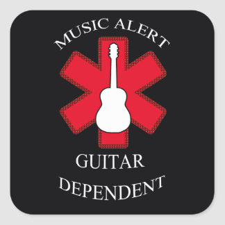 Music Alert Acoustic Guitar Square Sticker