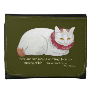 Music and Japanese Cat Art Quote Wallet