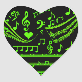 Music and me,In Green_ Heart Sticker
