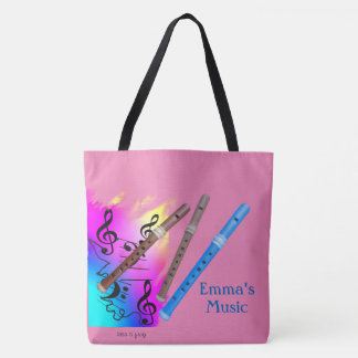 Music and Recorder Tote Bag