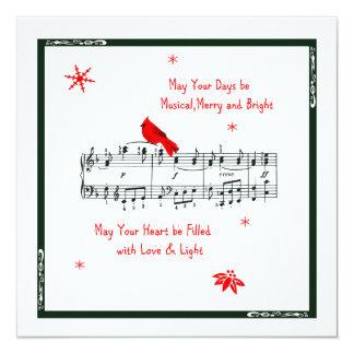 Music and Red Cardinal Bird Christmas Card 13 Cm X 13 Cm Square Invitation Card