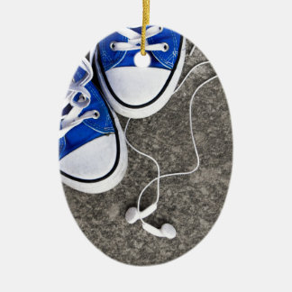 Music and sneakers ceramic oval decoration