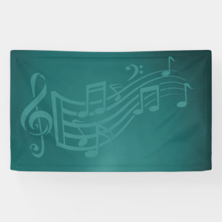 Music background or backdrop in teal banner