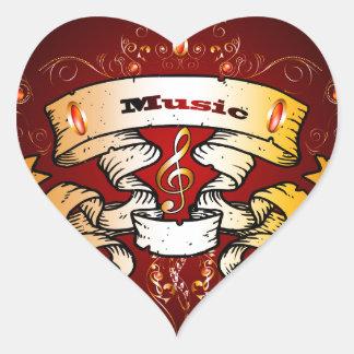 Music banner heart stickers