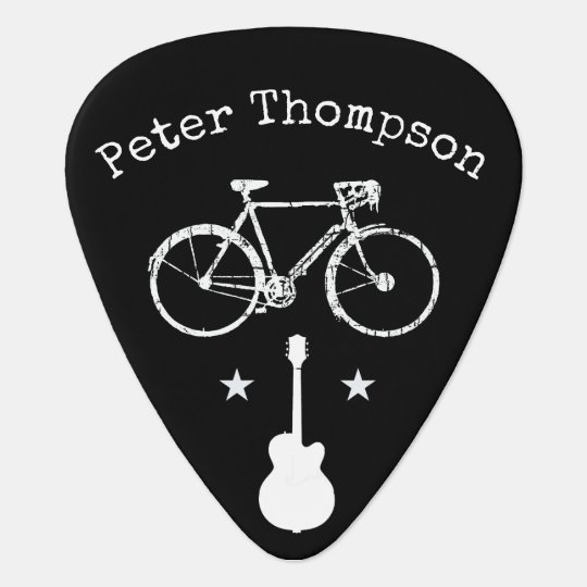 music & bicycle, personalised black plectrum