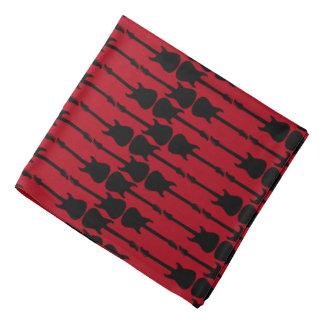 Music Black Electric Guitar Stripes, Dark Red Bandana