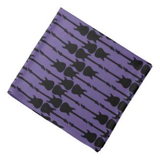 Music Black Electric Guitar Stripes, Ultra Violet Bandana