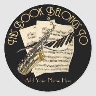Music Bookplate Classic Round Sticker