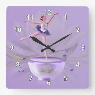 Music Box Ballerina with Water Lily Square Wall Clock