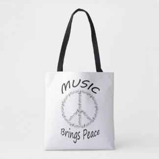 Music brings peace tote bag