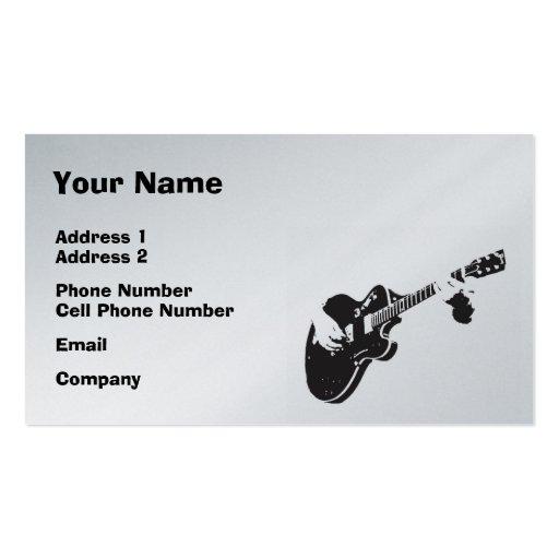 Music Business Card - Black Guitar