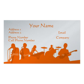 Music Business Card - Orange Rock Band