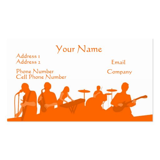 Music Business Card - Orange Rock Band