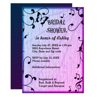 Music, Butterfly, Leaves Blue Purple Bridal Shower Card
