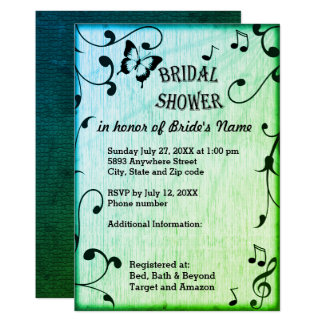Music, Butterfly, Leaves, Green Bridal Shower Card