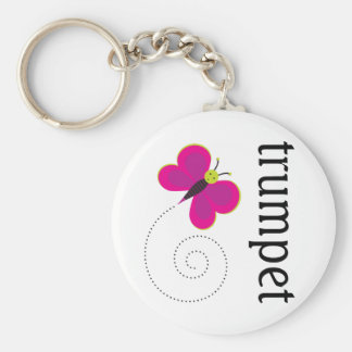 Music Butterfly Trumpet Gift Basic Round Button Key Ring