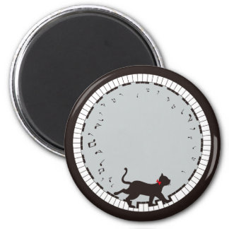 Music Cat 6 Cm Round Magnet