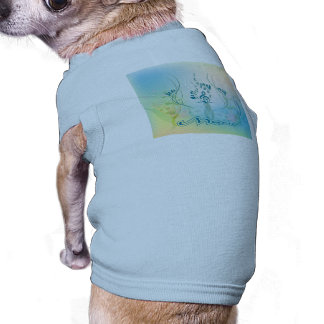 Music, clef and floral elements dog tee shirt