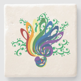Music Clef Bouquet Stone Coaster
