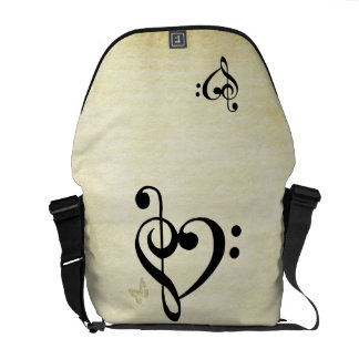 Music Clef Heart Commuter Bags