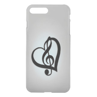Music Clef Heart on Silver iPhone 8 Plus/7 Plus Case