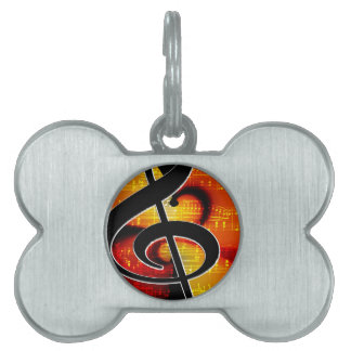 Music clef pet tags