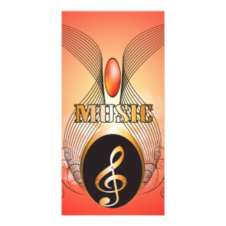 Music, clef photo card template