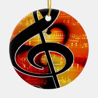 Music clef round ceramic decoration
