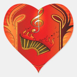 Music, clef heart sticker