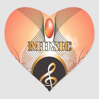 Music, clef heart stickers