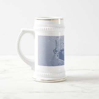 Music, clef wiht keynotes and liight effects beer stein
