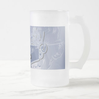Music, clef wiht keynotes and liight effects frosted glass mug