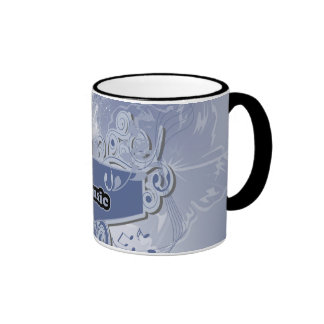 Music, clef wiht keynotes and liight effects ringer mug