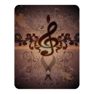 Music, Clef with elegant floral design 4.25x5.5 Paper Invitation Card