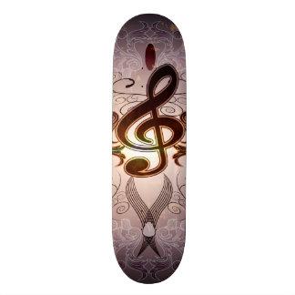 Music, Clef with elegant floral design Custom Skateboard