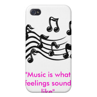 "music clipart, ""Music is what feelings sound like"" Case For iPhone 4"