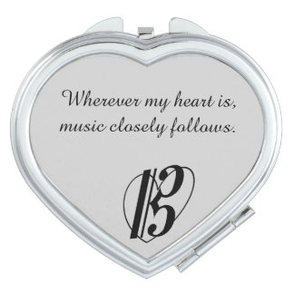 """Music closely follows"" Mirror Compact Alto Clef Makeup Mirrors"