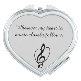 """Music closely follows"" Mirror Compact Mirror For Makeup"