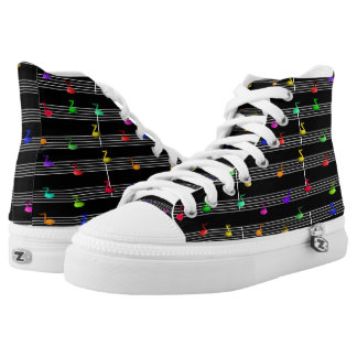 Music Colorful Fun Notes Printed Shoes