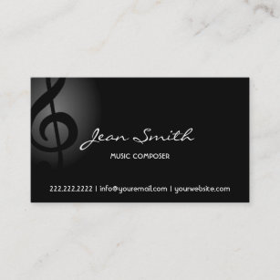 Music composer business cards zazzle uk music composer elegant dark clef business card reheart Gallery