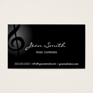 Music Composer Elegant Dark Clef Business Card