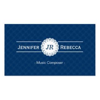 Music Composer - Modern Monogram Blue Business Cards