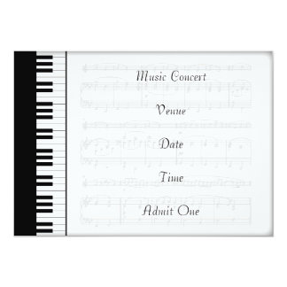 Music Concert Admission Ticket Piano Theme Card