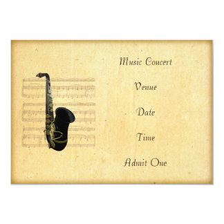 Music Concert Admission Ticket Saxophone Theme 13 Cm X 18 Cm Invitation Card