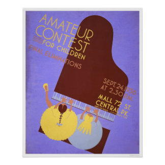 Music Contest Children 1936 WPA Poster