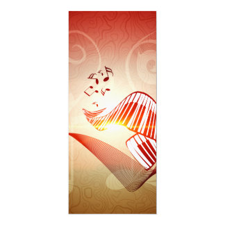 Music, curved piano keyboard with key notes 10 cm x 24 cm invitation card